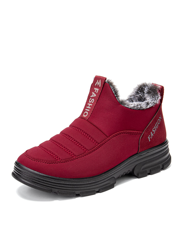 Women Casual Quilting Slip On Waterproof Warm Lining Snow Short Cotton Boots