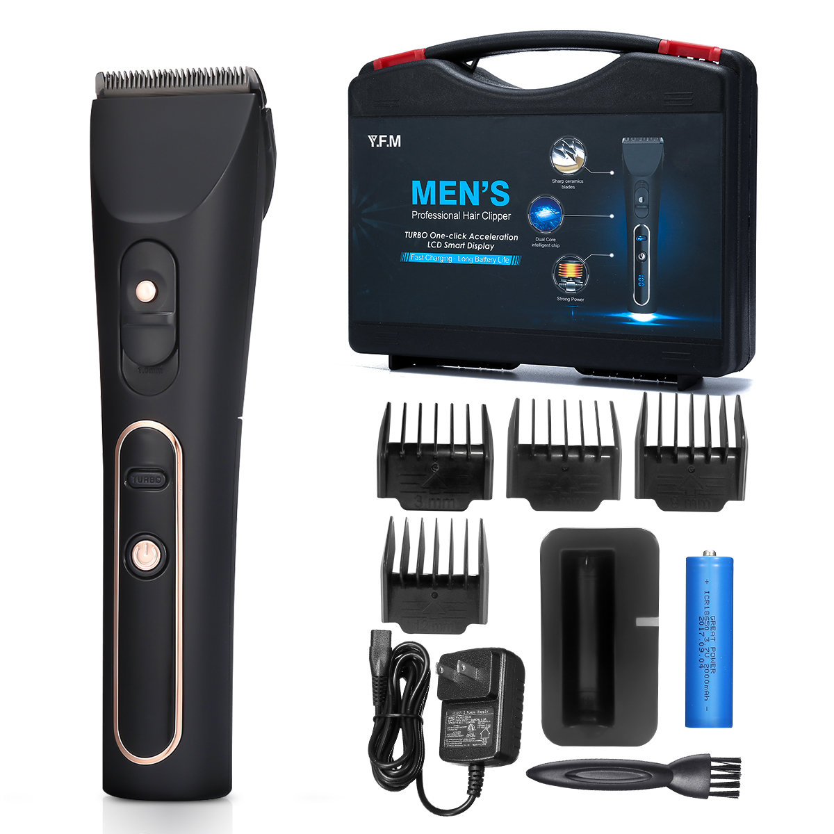 Professional Electric Hair Clipper Quiet Men Hair Trimmer Toolbox Limit Comb Hair Style Tool Set