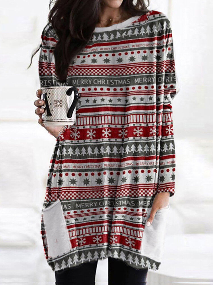 Christmas Striped Print Long Sleeve O-neck Casual Blouse For Women