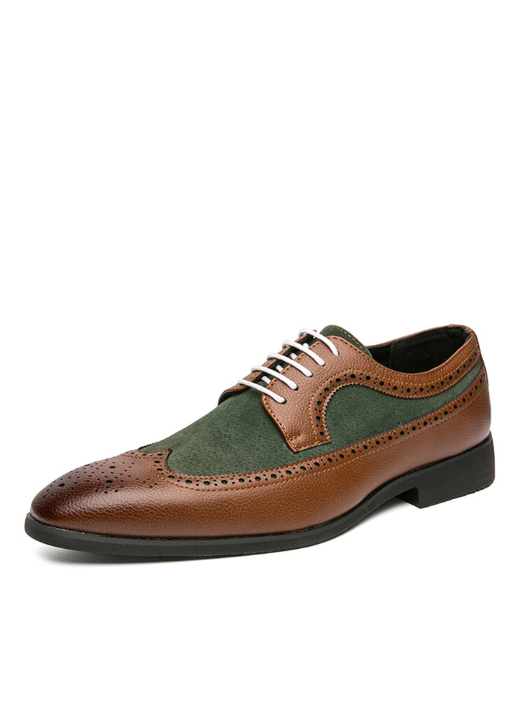 Men Retro Large Size Lace-up Pointed Toe Formal Dress Shoes