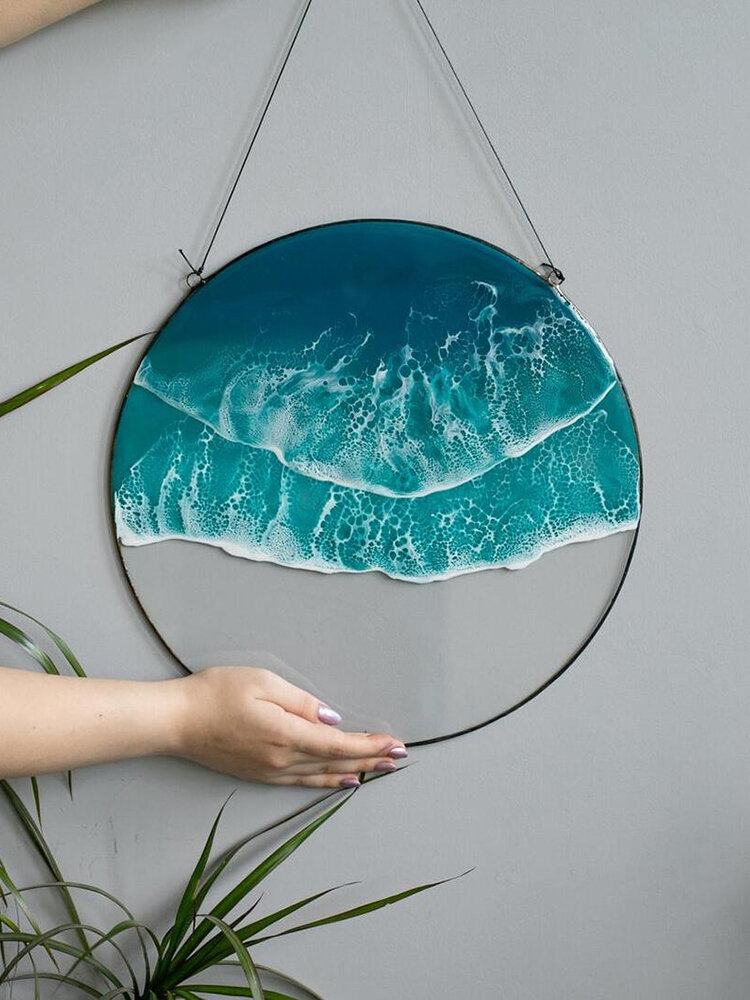 1 PC Round Acrylic Ocean Wave Home Decoration Wall Art Wall Hanging