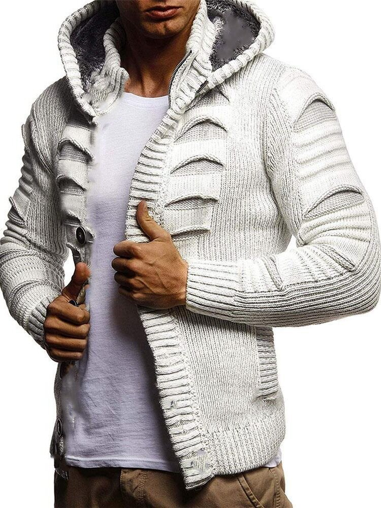 Mens Solid Ripped Knitted Button Front Drawstring Hooded Cardigans