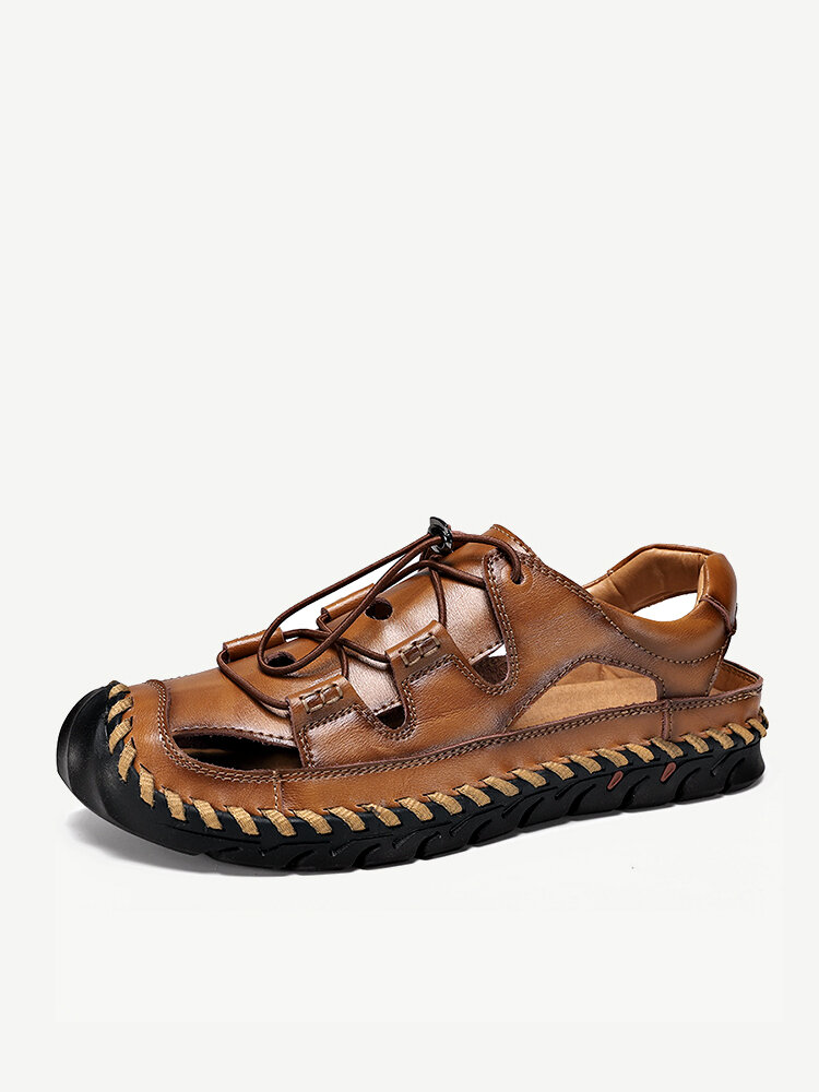 Men Hand Stitching Leather Non Slip Elastic Lace Casual Outdoor Sandals