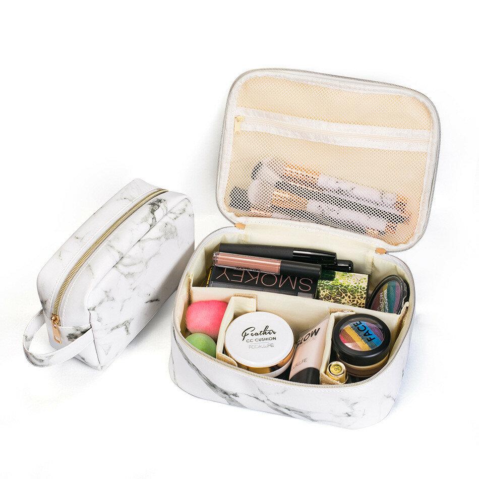 المحمولة حقيبة ماكياج رخام كوميستيك المنظم حقيبة تخزين حقيبة السفر حقيبة أسود أبيض اثنان الحجم