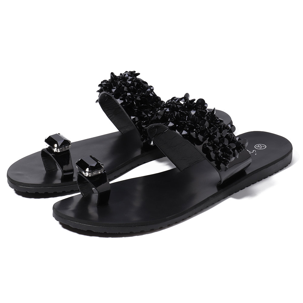 Luxury Design Crystal Clip Toe Slippers