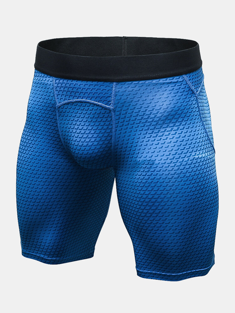 Men 3D Print Fabric Widen Waist Wicking Running Shorts Breathable Sports Stetch Tracks Shorts