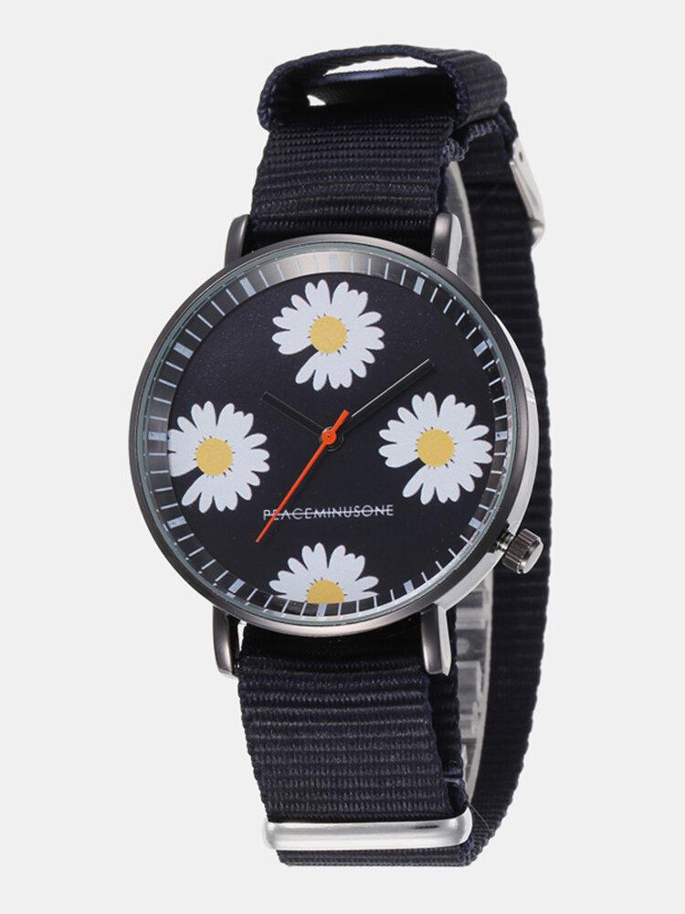 Fashion Cute Women Watches Leather Band Three-Dimensional Little Daisy Quartz Watch