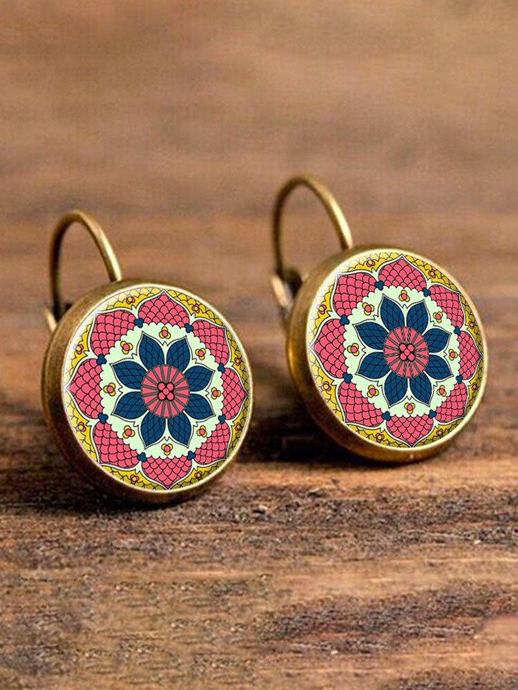 Ethnic Flower Drop Earrings Bohemian Round Drop Ear Earrings Alloy Earrings For Women