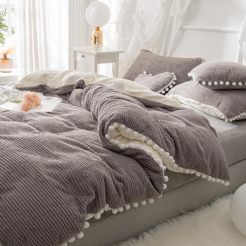 4 шт. Берберский флис двухсторонний Dehair ангора кристалл бархатный комплект постельного белья зимний королева король одеяло покрывало простыня