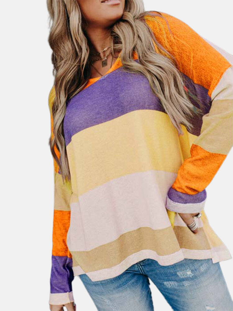 Contrast Color V-neck Long Sleeve Casual Sweater For Women