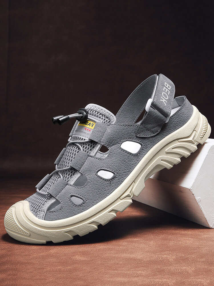 Men Closed Toe Non Slip Hollow Out Outdoor Beach Sandals