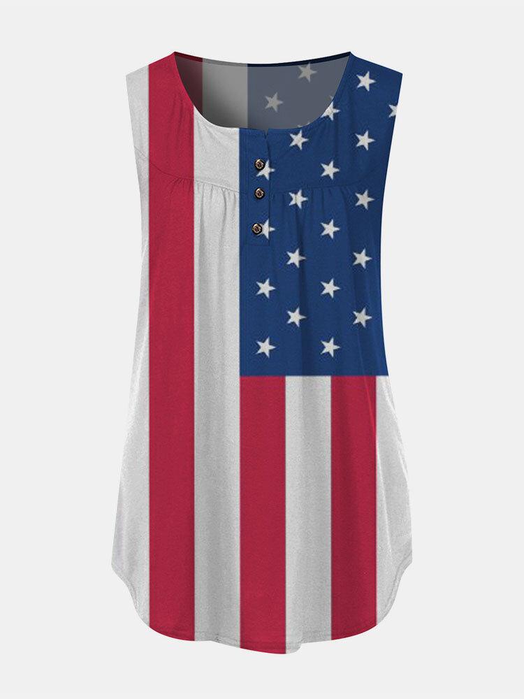 Camiseta sin mangas sin mangas con cuello redondo y estampado de rayas con estampado de estrellas del Día de la Independencia