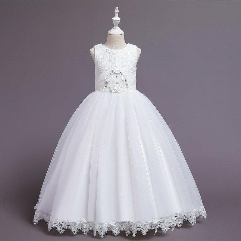 Fleur tout-petits filles sans manches Pageant princesse fête de mariage Tulle longue robe pour 6-12 ans
