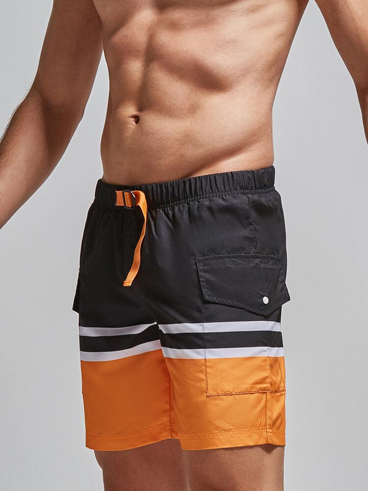 Colorblock Cargo Pocket Swim Trunks Adjustable Waistband Mid Length Board Shorts for Men