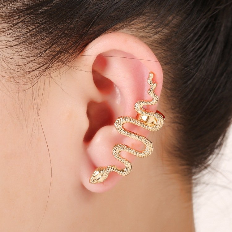Newchic coupon: 1 Pc Exaggerate Snake Cartilage Earrings Statement Zinc Alloy Silver Gold Cuff Earrings for Women