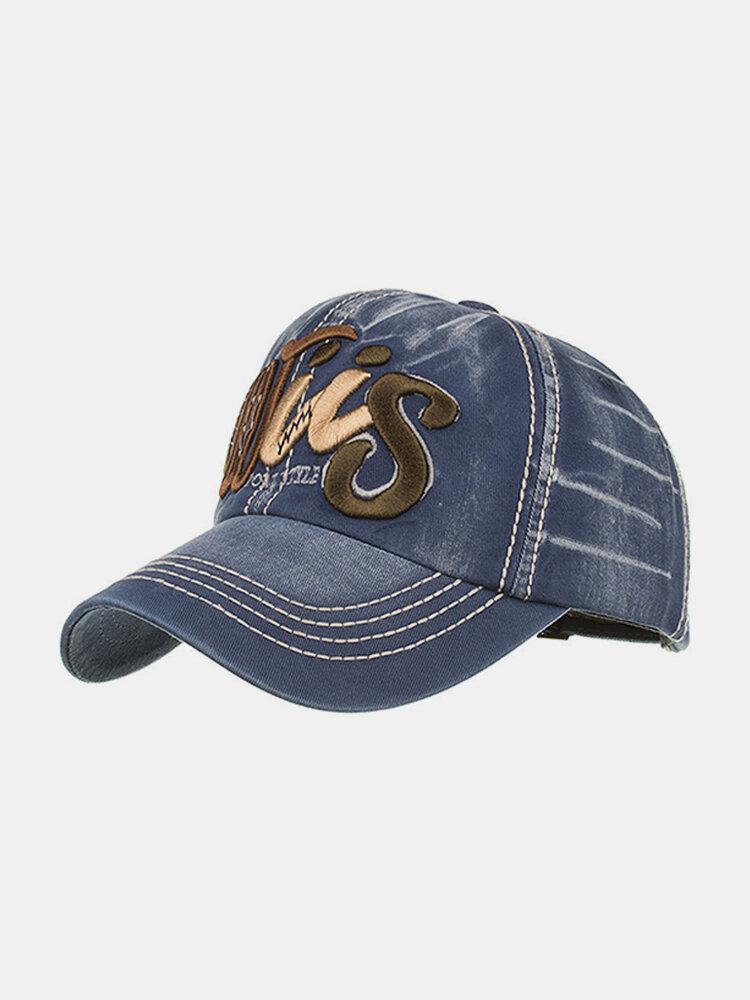 Men's Embroidery Denim Baseball Cap Letter Pattern Cowboy Sun Hat Adjustable Snapback Cap