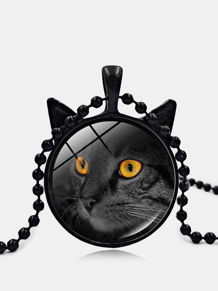 Vintage Stereoscopic Black Cat Face Printed Women Necklace Cat Ear Pendant Necklace