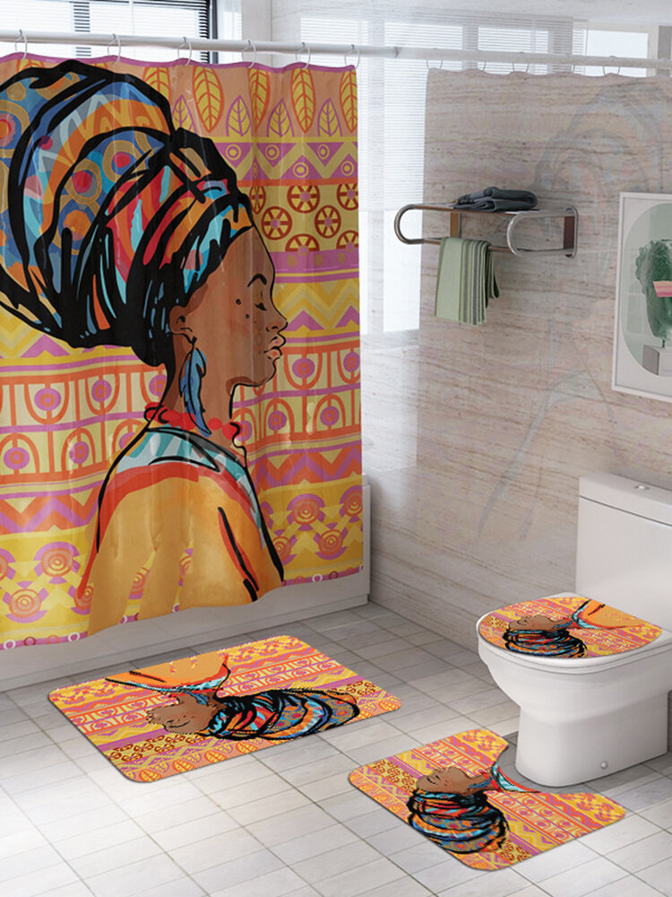 Traditional African Black Women With Purple Hair Afro Hairstyle Watercolor Portrait Picture Print Waterproof Fabric Polyester Shower Curtain Set with Hooks