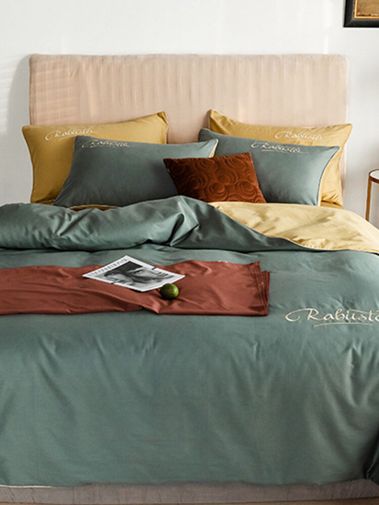 4Pcs Cotton Nordic Style Embroidery Long-staple Cotton Light Luxury Twill Bed Linen Quilt Cover