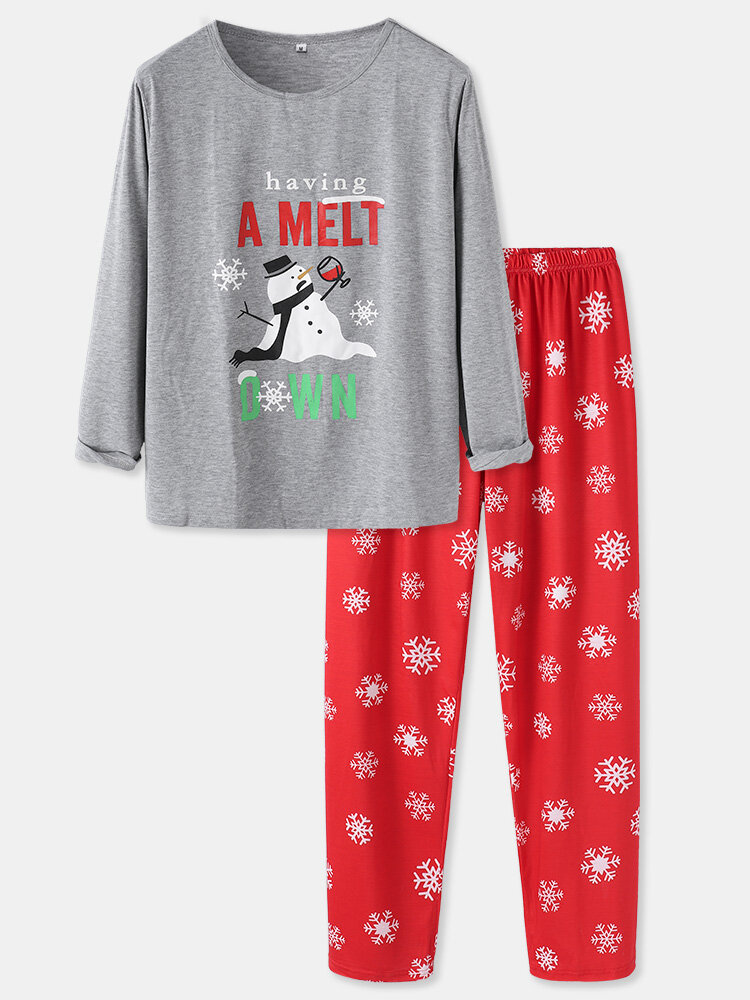 Cute Snowman Printed Comfortable Home Family Sets Two-Piece Christmas Loungewear