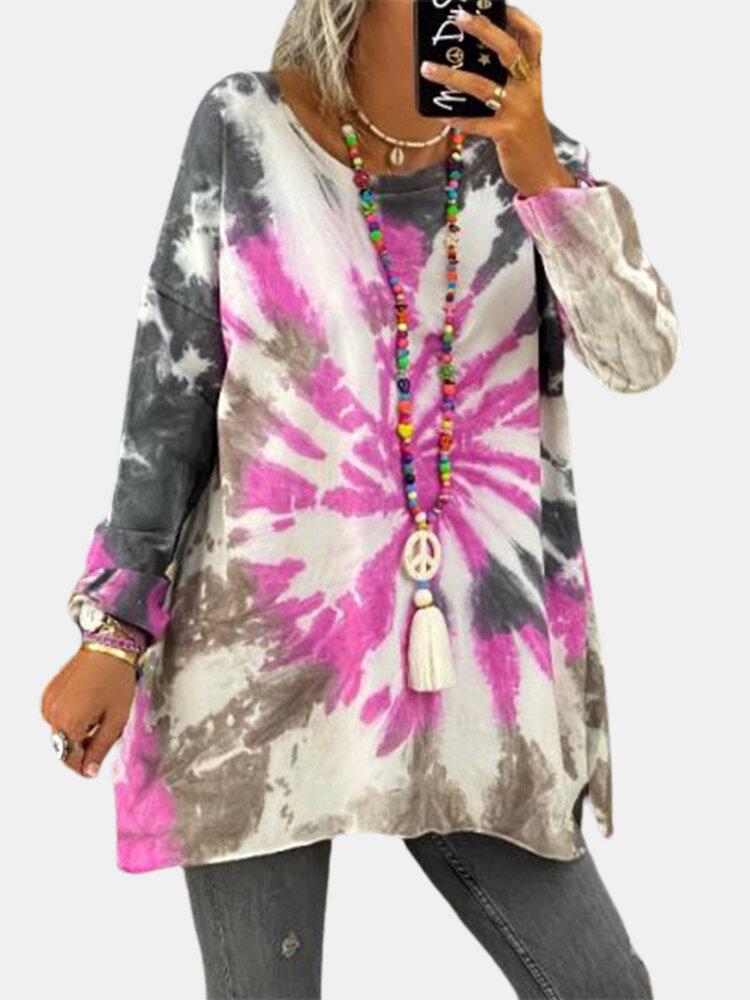 Casual Tie-dye Printed O-neck Long Sleeve Sweatshirt