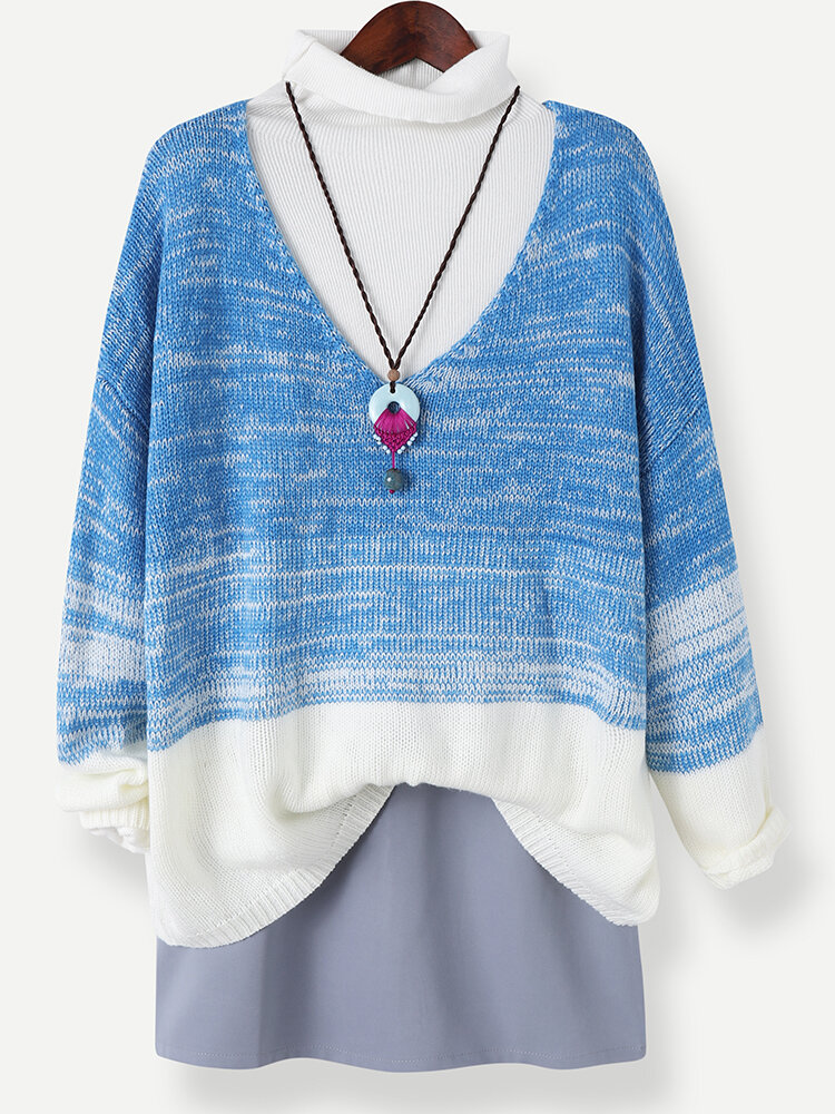 Tie Dye Knitted V-neck Long Sleeve Casual Sweater for Women