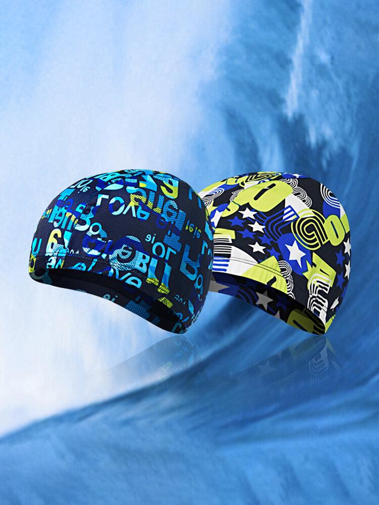 Men Quick-drying Fabric Mixture Color Flexible Cover Ears Breathable Comfortable Swim Cap