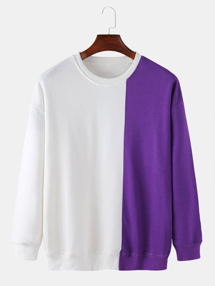 Mens Contrast Patchwork Cotton Relaxed Fit Round Neck Sweatshirts