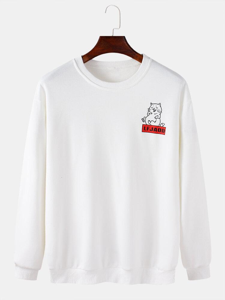 Mens Cotton Back Cartoon Animal Letter Print Casaul Crew Neck Sweatshirts