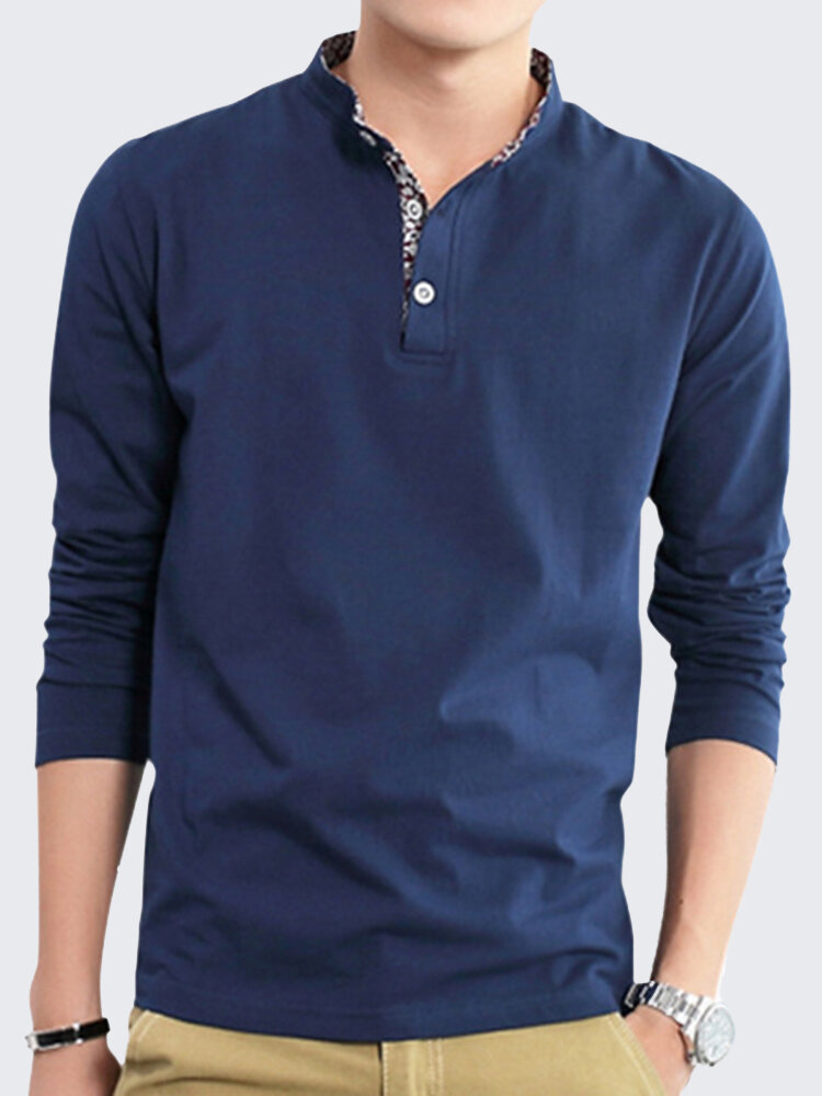 Mens Fashion Stand Collar Solid Long Sleeve Casual T-shirt