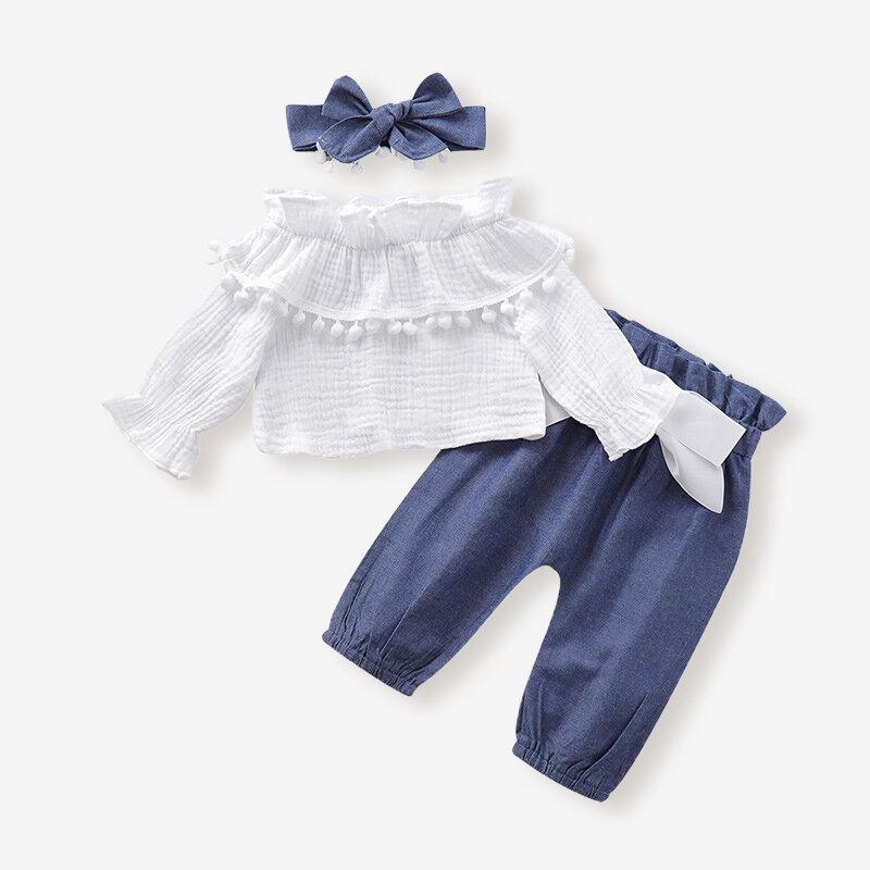 3PCs女の赤ちゃん白いベルスリーブトップス+パンツ衣類セット6-24M