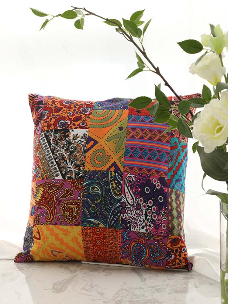 Vintage Bohemian Folk Patches Linen Cotton Throw Pillowcases Home Sofa Art Decor Car Cushion Cover