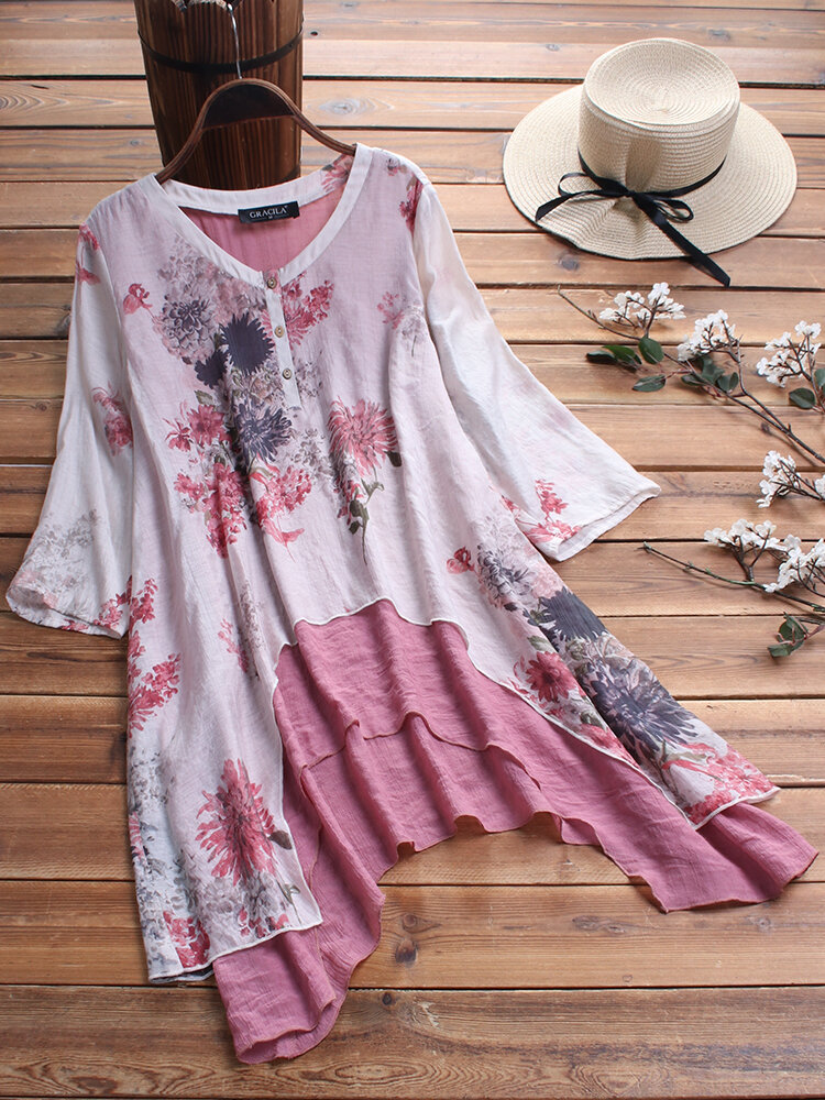 Floral Print Button Fake Two Pieces Chinese Style O-neck Blouse