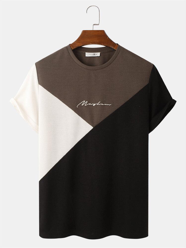 メンズ刺繡トリコロールニットテクスチャ半袖Tシャツ