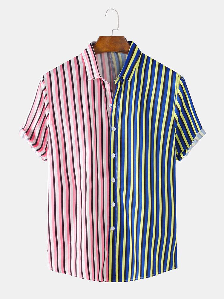 Mens Designer Stripe Patchwork Short Sleeve Casual Lapel Collar Shirts