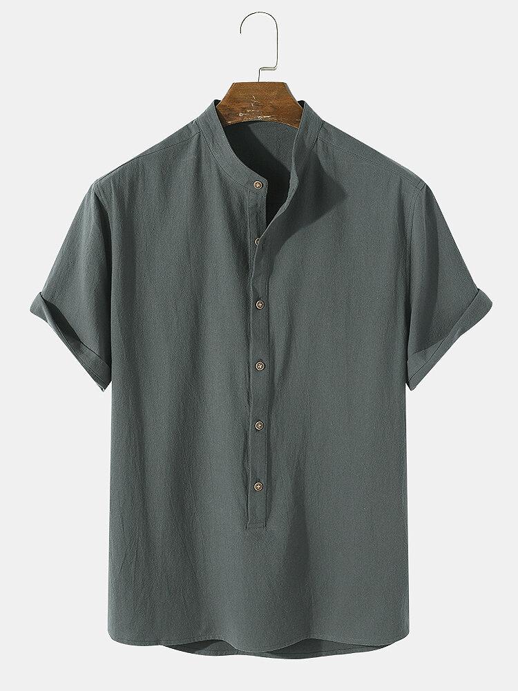 Mens Plain Basic Style Solid 100% Cotton Short Sleeve Henley Shirt