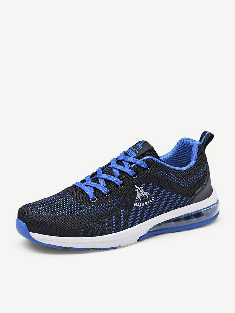 Men Knitted Fabric Air Cushion Sole Soft Lace Up Casual Running Shoes