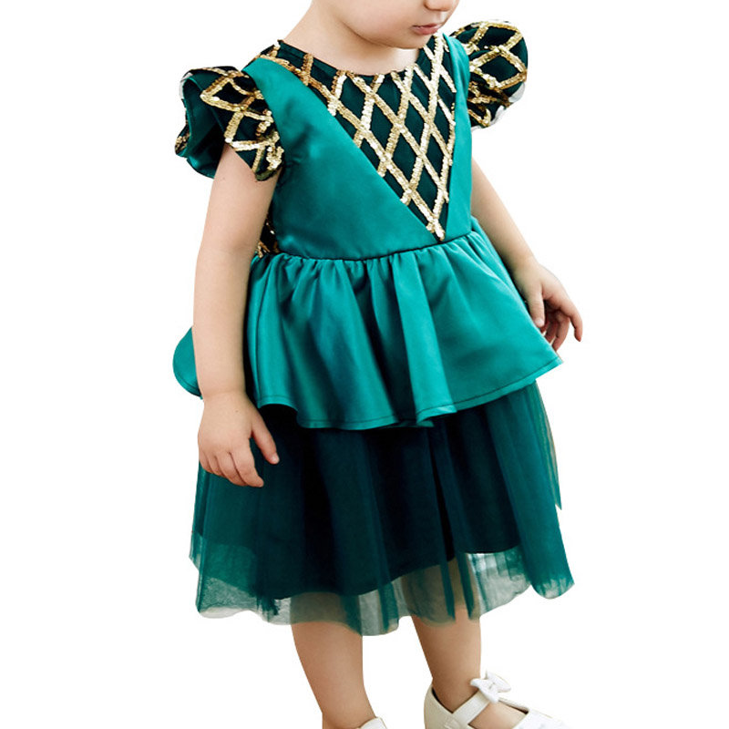 Gold Sequin Dresses Girls Party Princess Dress For 1-9Years