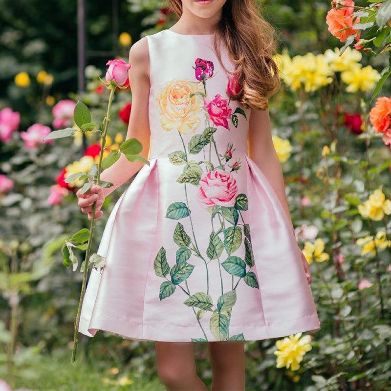 フラワーガールズドレス4-13Yearsのバックレス蝶結びドレス