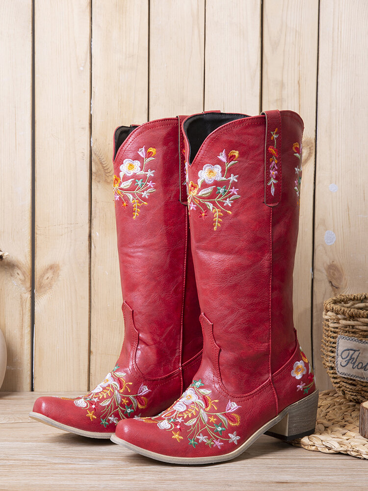 Plus Size Women Casual Ethnic Embroidered Mid-Calf Comfy Cowboy Boots