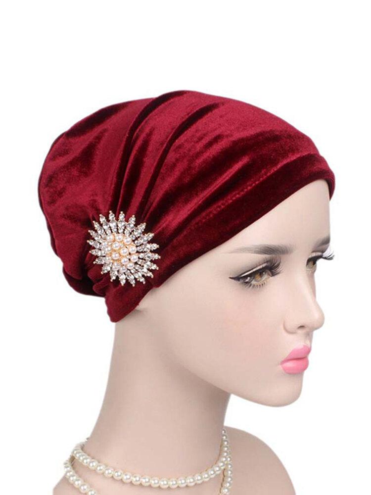 Women's Velvet Wtih Alloy Diamonds Stretch Turban Hat Casual Warm Solid Beanie Cap