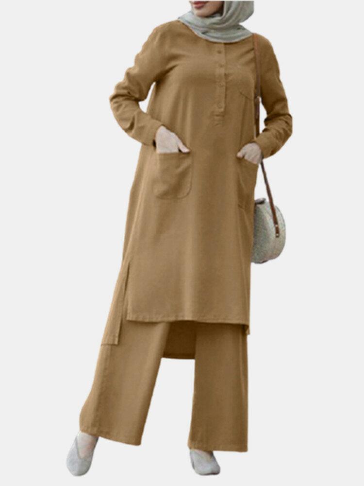 Solid Color O-neck Long Sleeve Plus Size Button Blouse Suit for Women