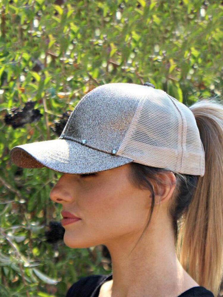 Women Simple Casual Solid Color Visor Breathable Mesh Sun Hat Baseball Hat