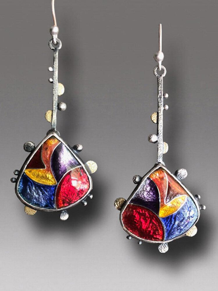 Boucles d'oreilles en émail transparent en cristal de couleur bohème Boucles d'oreilles pendantes brillantes en forme de goutte