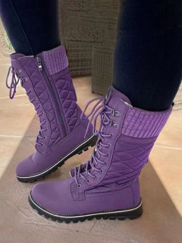 Women Solid Color Splicing Knitted Fabric Side Zipper Slip Resistant Warm Mid-calf Boots