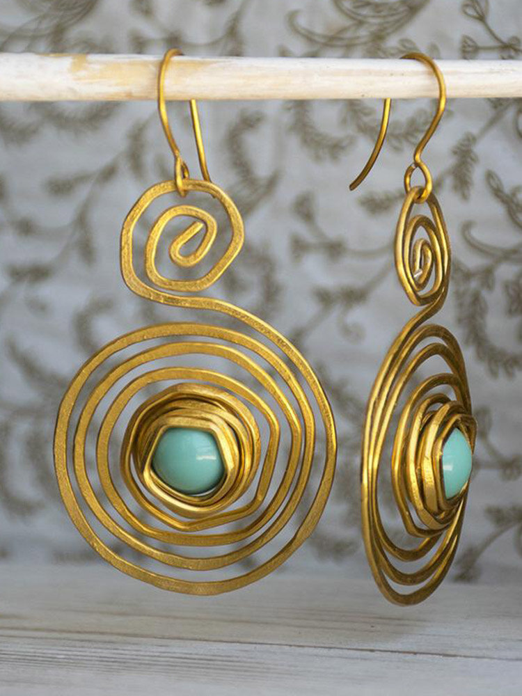 Vintage Geometric Spiral Multi-layer Wound Turquoise Alloy Earrings