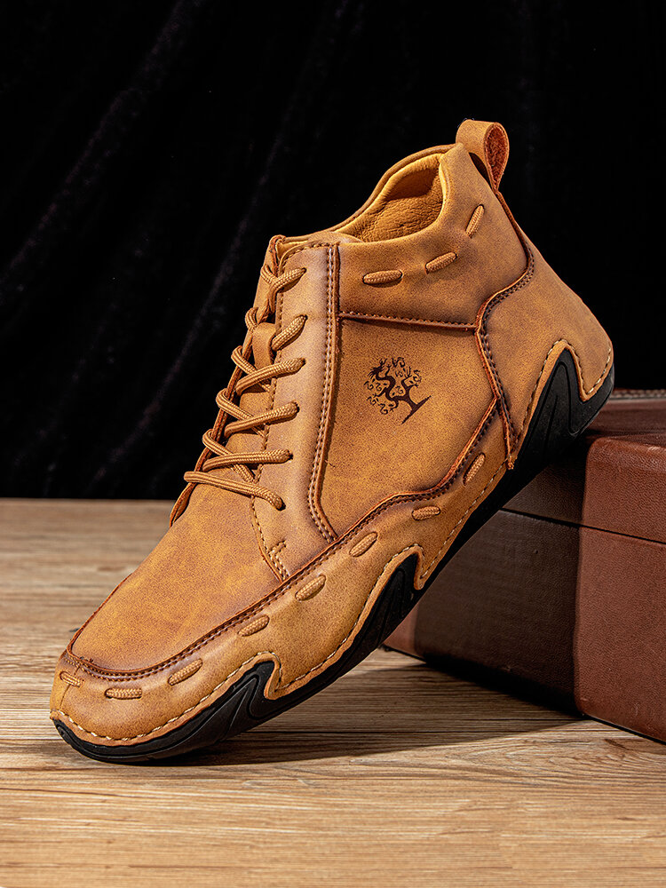 Men Retro Hand Stitching Leather Non Slip Soft Lace Up Ankle Boots