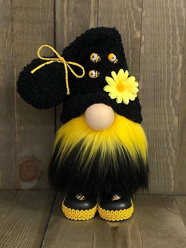 1PC Bee Festival Faceless Creative Gnome Doll Couple Handmade Holiday Elf Home Bedroom Kitchen Decor