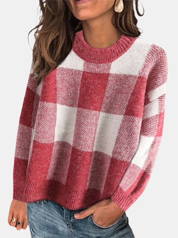Plaid Print Patchwork O-neck Long Sleeve Plus Size Casual Sweater