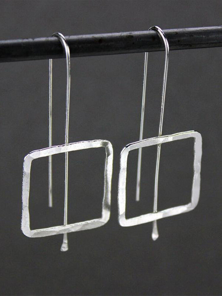 Vintage Silver Plated Square Pendant Earrings Simple Geometric Women Jewelry